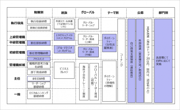 図10:教育体系図の一例(※青色部分はグロービスで提供しているものとして整理)