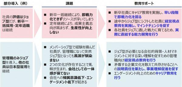 図3:ジョブ型雇用の部分導入と必要な教育サポート(例)
